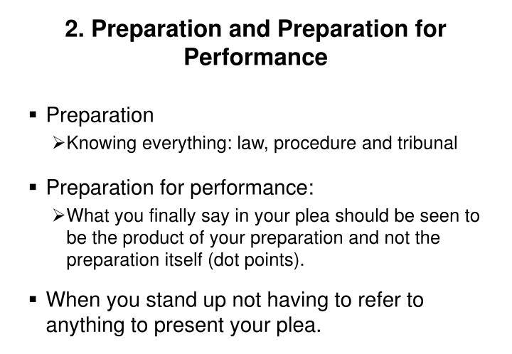 2 preparation and preparation for performance