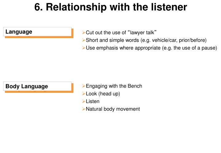 6. Relationship with the listener