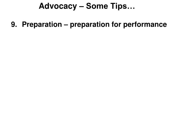 Advocacy – Some Tips…