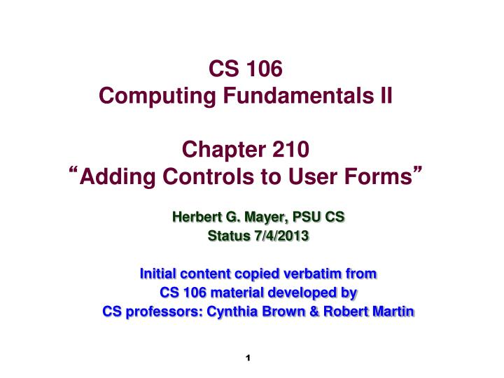 Cs 106 computing fundamentals ii chapter 210 adding controls to user forms