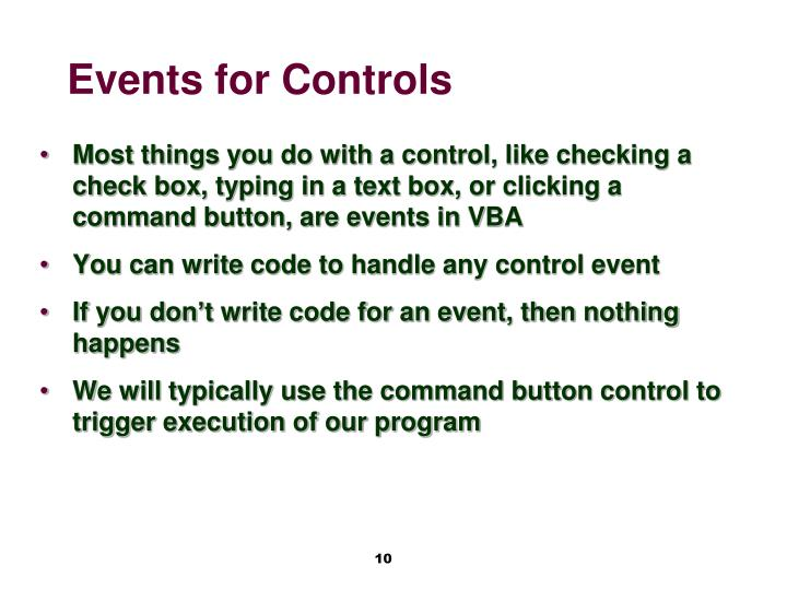 Events for Controls