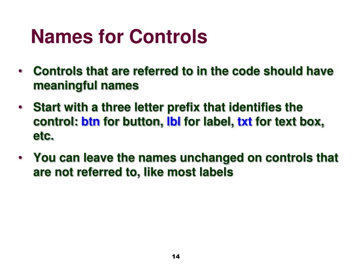 Names for Controls