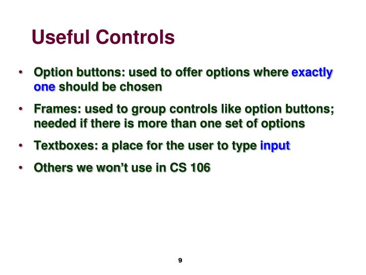 Useful Controls