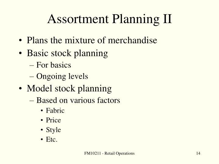 Assortment Planning II