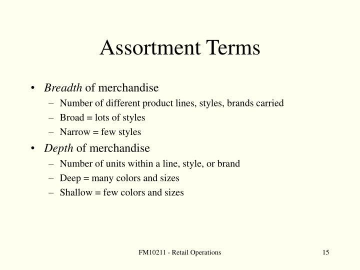 Assortment Terms