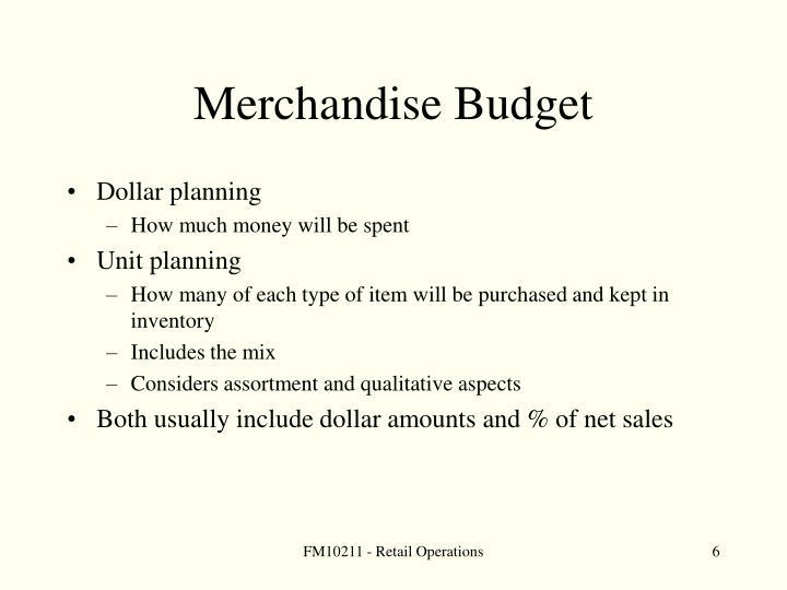 Merchandise Budget