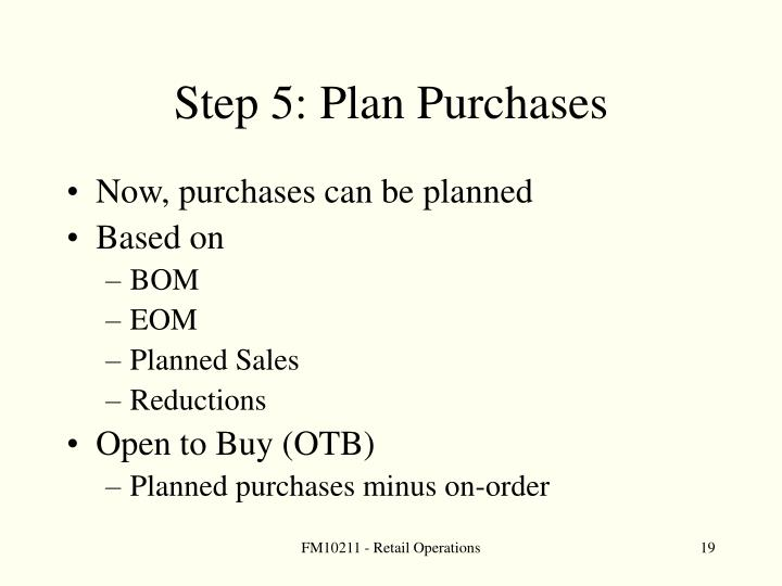 Step 5: Plan Purchases