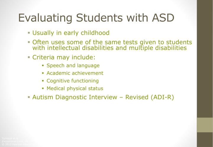 Evaluating Students with ASD