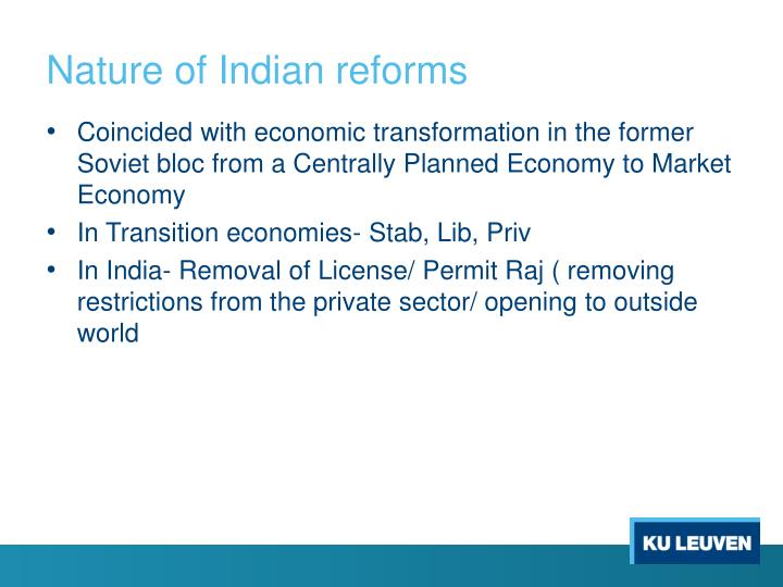 Nature of Indian reforms