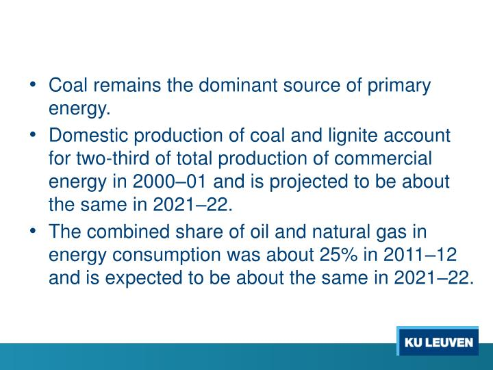 Coal remains the dominant source of primary energy.
