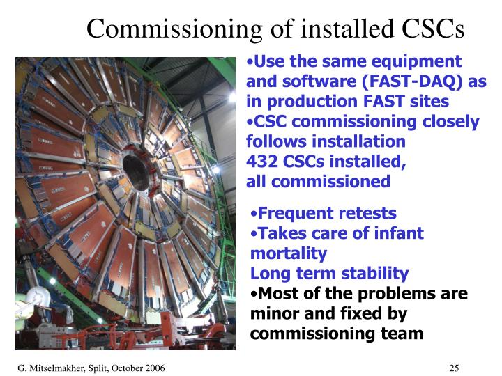 Commissioning of installed CSCs