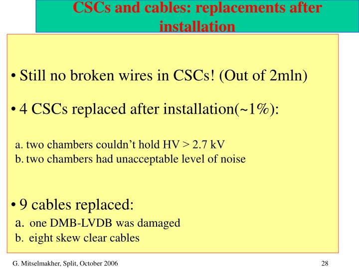 CSCs and cables: replacements after installation
