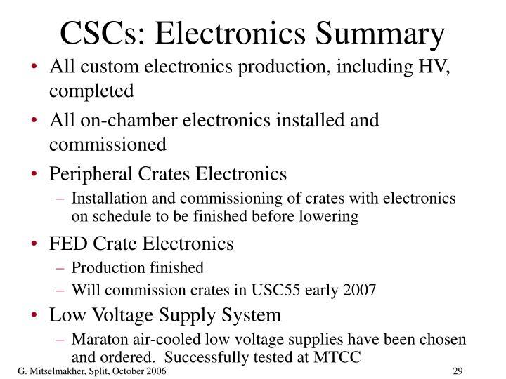 CSCs: Electronics Summary