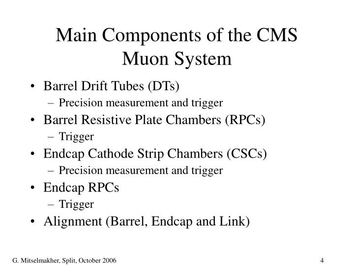 Main Components of the CMS Muon System