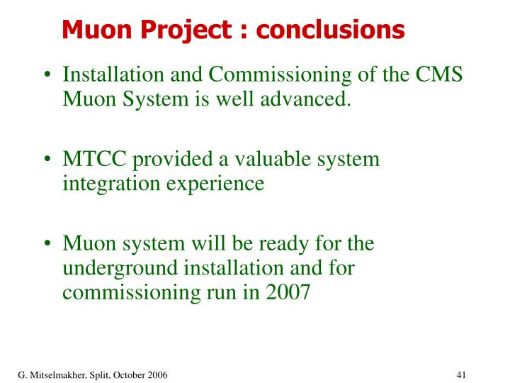 Muon Project : conclusions