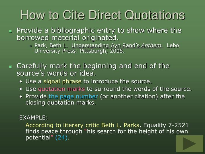 How to Cite Direct Quotations