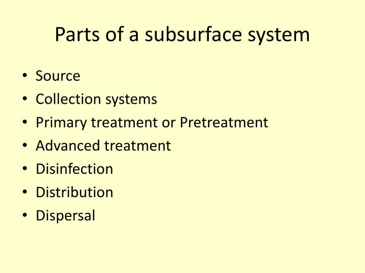 Parts of a subsurface system