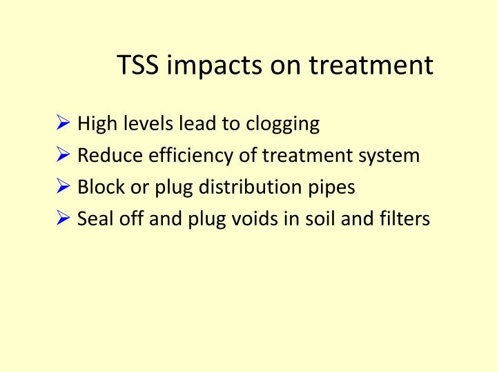 TSS impacts on treatment