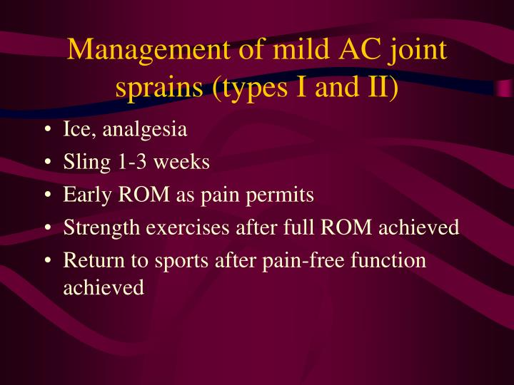 Management of mild AC joint sprains (types I and II)