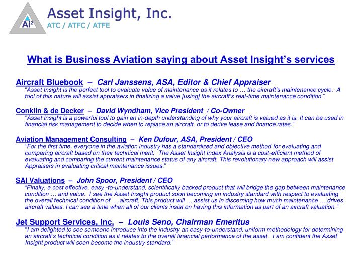 What is Business Aviation saying about Asset Insight's services