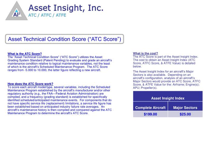 "Asset Technical Condition Score (""ATC Score"")"