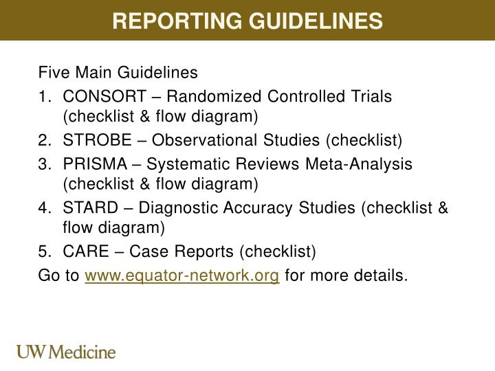 Reporting Guidelines