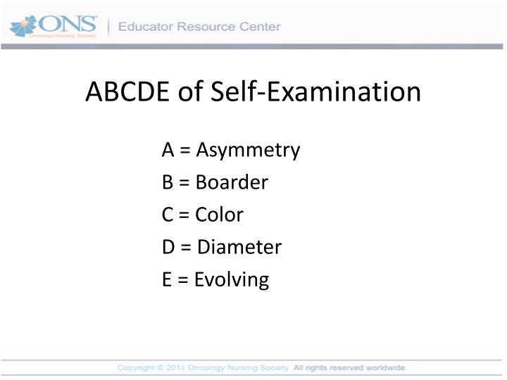ABCDE of Self-Examination
