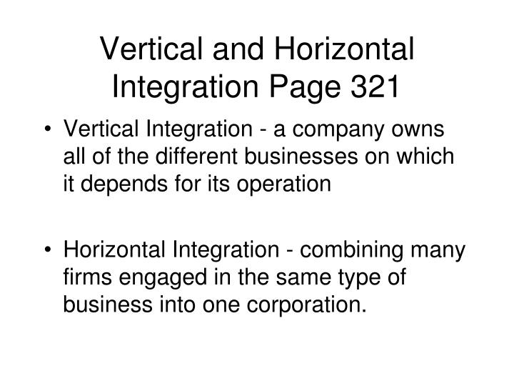 Vertical and Horizontal Integration Page 321