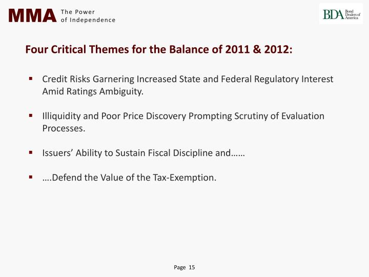 Four Critical Themes for the Balance of 2011 & 2012
