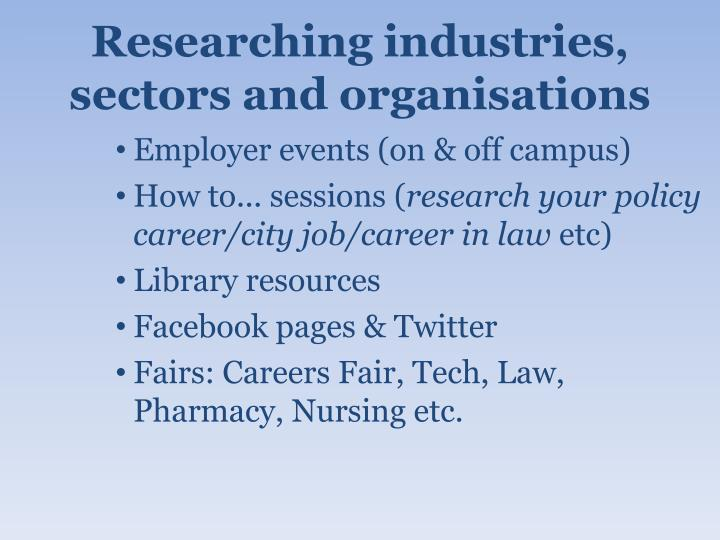 Researching industries, sectors and organisations