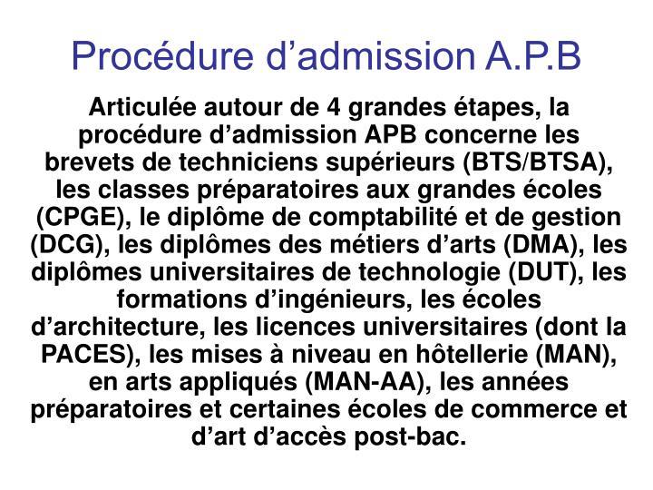 Procédure d'admission A.P.B