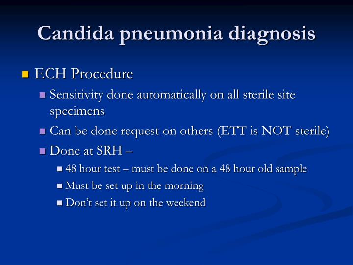 Candida pneumonia diagnosis