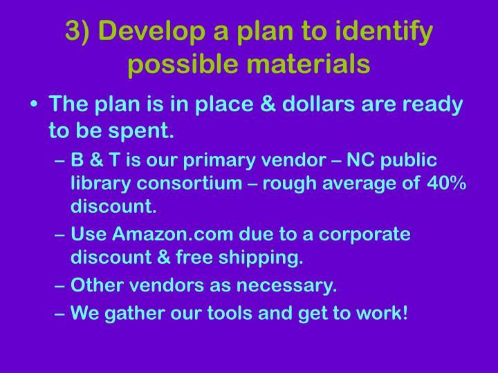 3) Develop a plan to identify possible materials