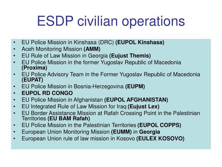 ESDP civilian operations