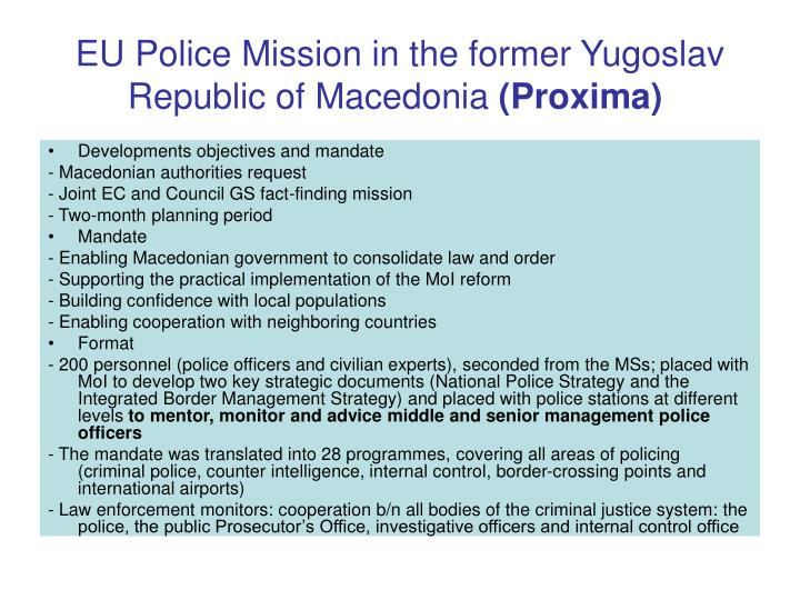 EU Police Mission in the former Yugoslav Republic of Macedonia