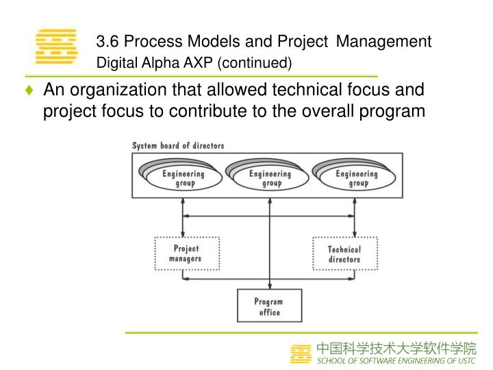 An organization that allowed technical focus and project focus to contribute to the overall program