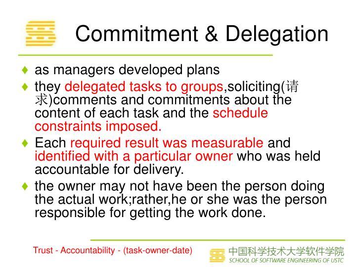 Commitment & Delegation