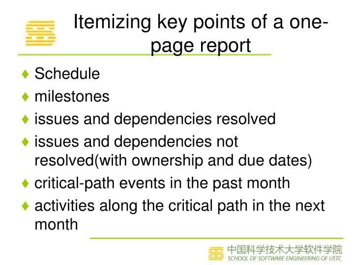 Itemizing key points of a one-page report
