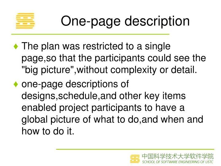 One-page description