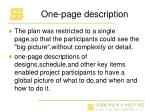 one page description