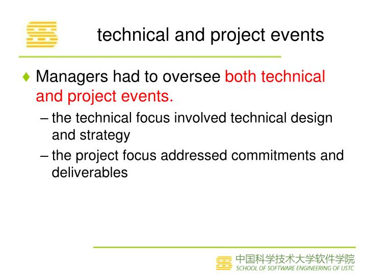technical and project events