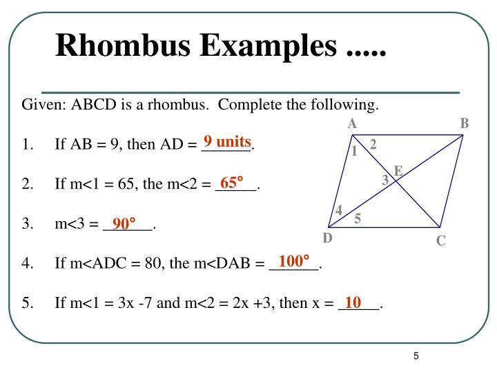 Rhombus Examples .....