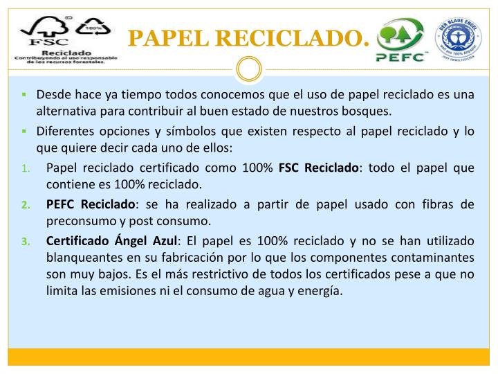 PAPEL RECICLADO.