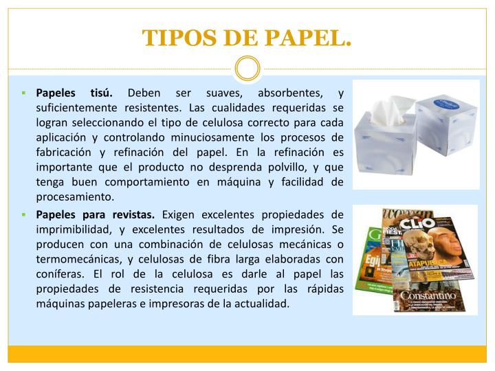 TIPOS DE PAPEL.