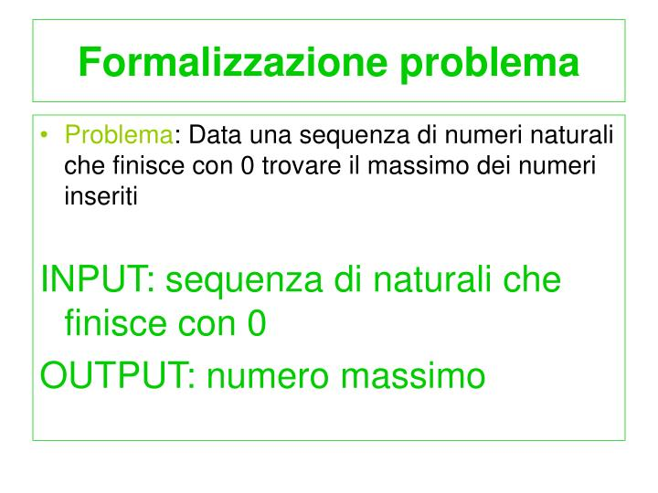 Formalizzazione problema