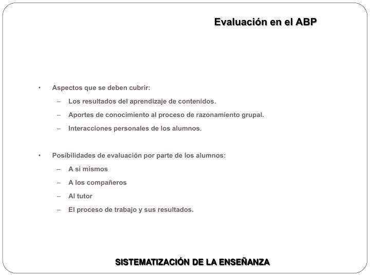 Evaluación en el ABP