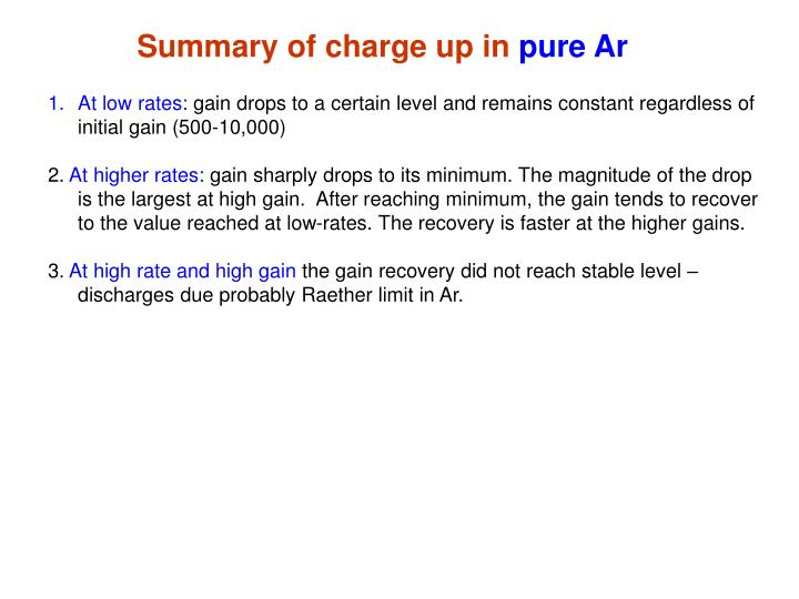 Summary of charge up in