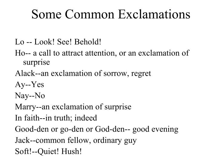 Some Common Exclamations