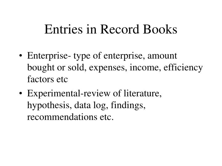 Entries in Record Books