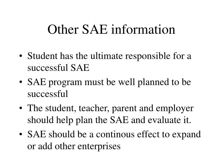 Other SAE information